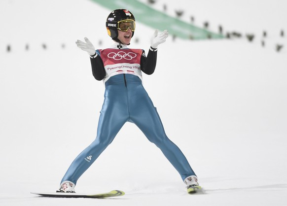 epa06511955 Simon Ammann from Switzerland reacts in the final round of the Men's Normal Hill Individual Ski Jumping competition at the Alpensia Ski Jumping Centre during the PyeongChang 2018 Olympic Games, South Korea, 10 February 2018.  EPA/FILIP SINGER