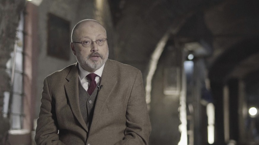"In this image made from a March 2018 video provided by Metafora Production, Jamal Khashoggi speaks during an interview at an undisclosed location. Eighteen days after Khashoggi disappeared, Saudi Arabia acknowledged early Saturday, Oct. 20, 2018, that the 59-year-old writer has died in what it said was a ""fistfight"" inside the Saudi consulate in Istanbul. (Metafora Production via AP)"