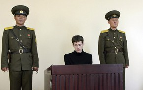U.S. citizen Matthew Todd Miller sits in a witness box during his trial at the North Korean Supreme Court in this undated photo released by North Korea's Korean Central News Agency (KCNA) in Pyongyang September 14, 2014. North Korea sentenced Todd Miller to six years hard labour for committing