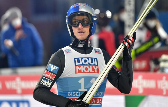 epa08920557 Gregor Schlierenzauer of Austria reacts during the qualification of the fourth stage of the 69th Four Hills Tournament in Bischofshofen, Austria, 05 January 2021.  EPA/LUKAS BARTH-TUTTAS