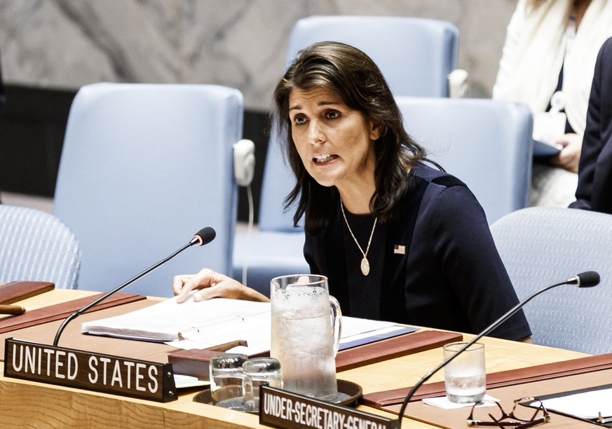 epa07081090 (FILE) - Nikki Haley, the United States' Ambassador to the United Nations, addresses an United Nations Security Council meeting in New York, New York, USA, 17 September 2018 (reissued 09 October 2018). According to media reports, Nikki Haley is to resign from her post as US ambassador to the UN.  EPA/JUSTIN LANE