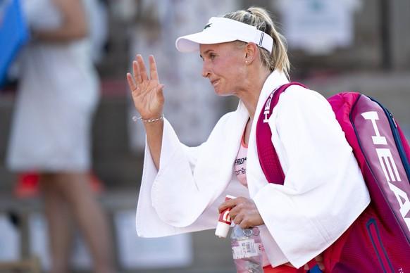 epa07727755 Jil Teichmann from Switzerland reacts after loosing her quarter final match against Tamara Korpatsch from Germany at the WTA International Ladies Open Lausanne tournament, in Lausanne, Switzerland, 19 July 2019.  EPA/LAURENT GILLIERON
