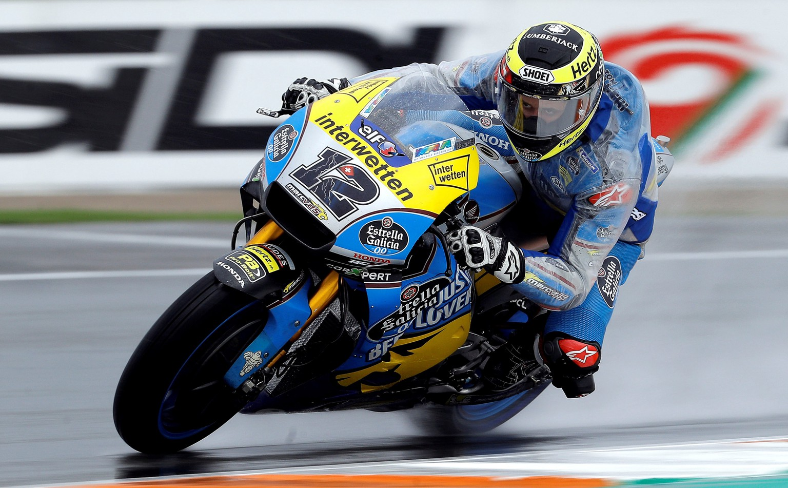 epa07170467 Swiss Moto GP rider Thomas Luthi of EG 0,0 Marc VDS Honda team in action during the practice session of the Comunitat Valenciana Motorcycling Grand Prix at Ricardo Tormo Circuit, in Cheste, eastern Spain, 16 November 2018. The Comunitat Valenciana Grand Prix will be held on 18 November 2018.  EPA/MANUEL BRUQUE