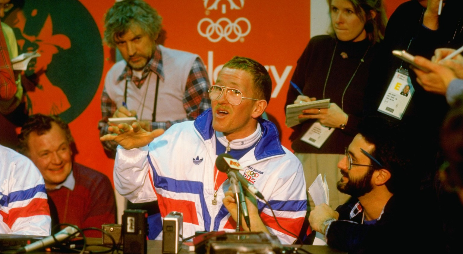 11 Feb 1988:  Portrait of Ski Jumper Eddie Edwards of Great Britain during a press conference at the 1988 Winter Olympic Games in Calgary, Canada. \ Mandatory Credit: Mike  Powell/Allsport