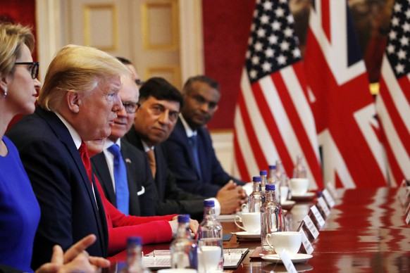 President Donald Trump speaks during a business roundtable event at St. James's Palace, Tuesday, June 4, 2019, in London. (AP Photo/Alex Brandon)