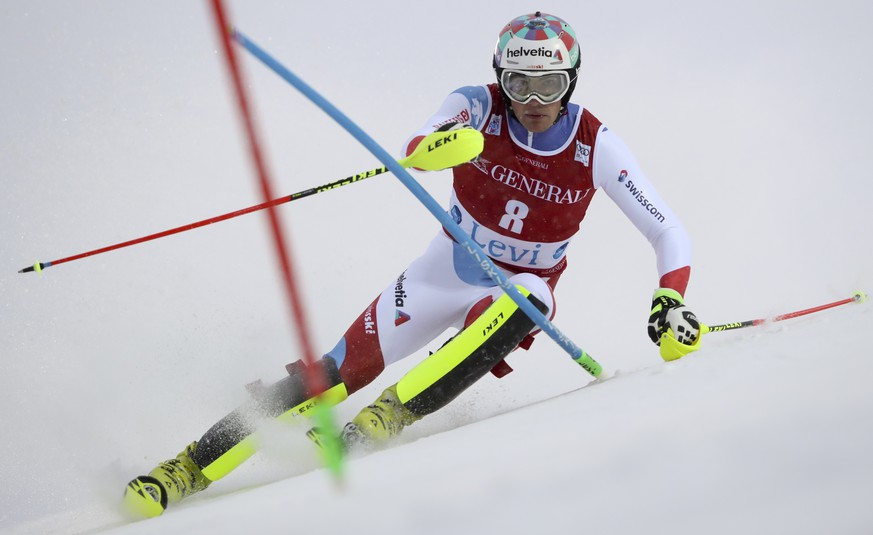 Switzerland's Daniel Yule speeds down the course during an alpine ski, men's World Cup slalom in Levi, Finland, Sunday, Nov. 12, 2017. (AP Photo/Shinichiro Tanaka)