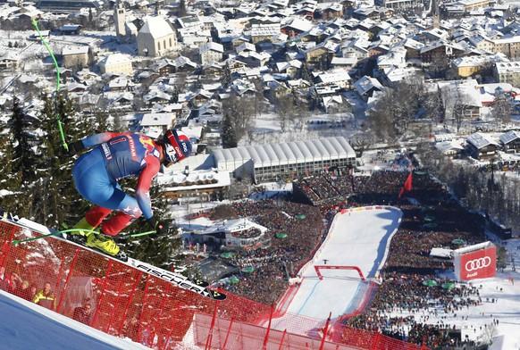 Alpine Skiing - FIS Alpine Skiing World Cup - Men's Downhill Race - Kitzbuehel, Austria - 21/01/17 - Steven Nyman of the U.S. in action. REUTERS/Dominic Ebenbichler