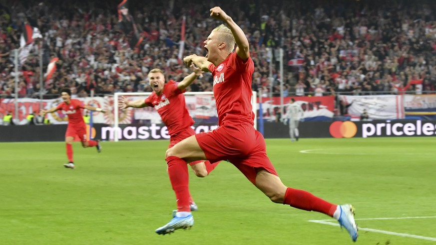 FC Red Bull Salzburg Erling Braut Haland celebrates after scoring against KRC Genk during the Champions League Group E at Red Bull Arena in Salzburg, Austria, Tuesday, Sept. 17, 2019. (AP Photo/Kerstin Joensson)