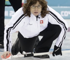 Switzerland's skip Mirjam Ott reacts during their women's curling round robin game against Japan in the Ice Cube Curling Centre at the Sochi 2014 Winter Olympic Games February 16, 2014. REUTERS/Ints Kalnins (RUSSIA  - Tags: SPORT OLYMPICS SPORT CURLING)