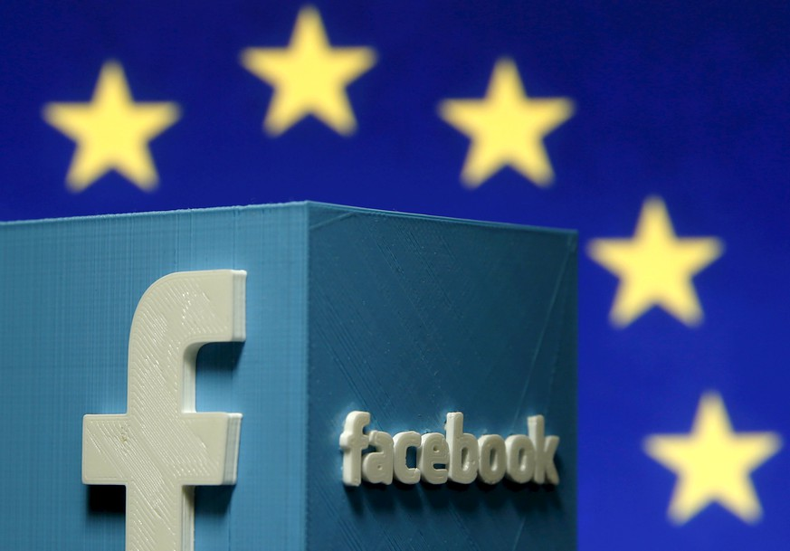 A 3D-printed Facebook logo is seen in front of the logo of the European Union in this file picture illustration made in Zenica, Bosnia and Herzegovina, May 15, 2015. The European Court of Justice (ECJ) is expected this week to rule on the continued legality of the Safe Harbour agreement, which is used by companies such as Facebook and MasterCard. The Safe Harbour framework agreement was established 15 years ago to enable companies to easily transfer personal data to the United States without having to seek prior approval, a potentially lengthy and costly process. REUTERS/Dado Ruvic/Files GLOBAL BUSINESS WEEK AHEAD PACKAGE - SEARCH