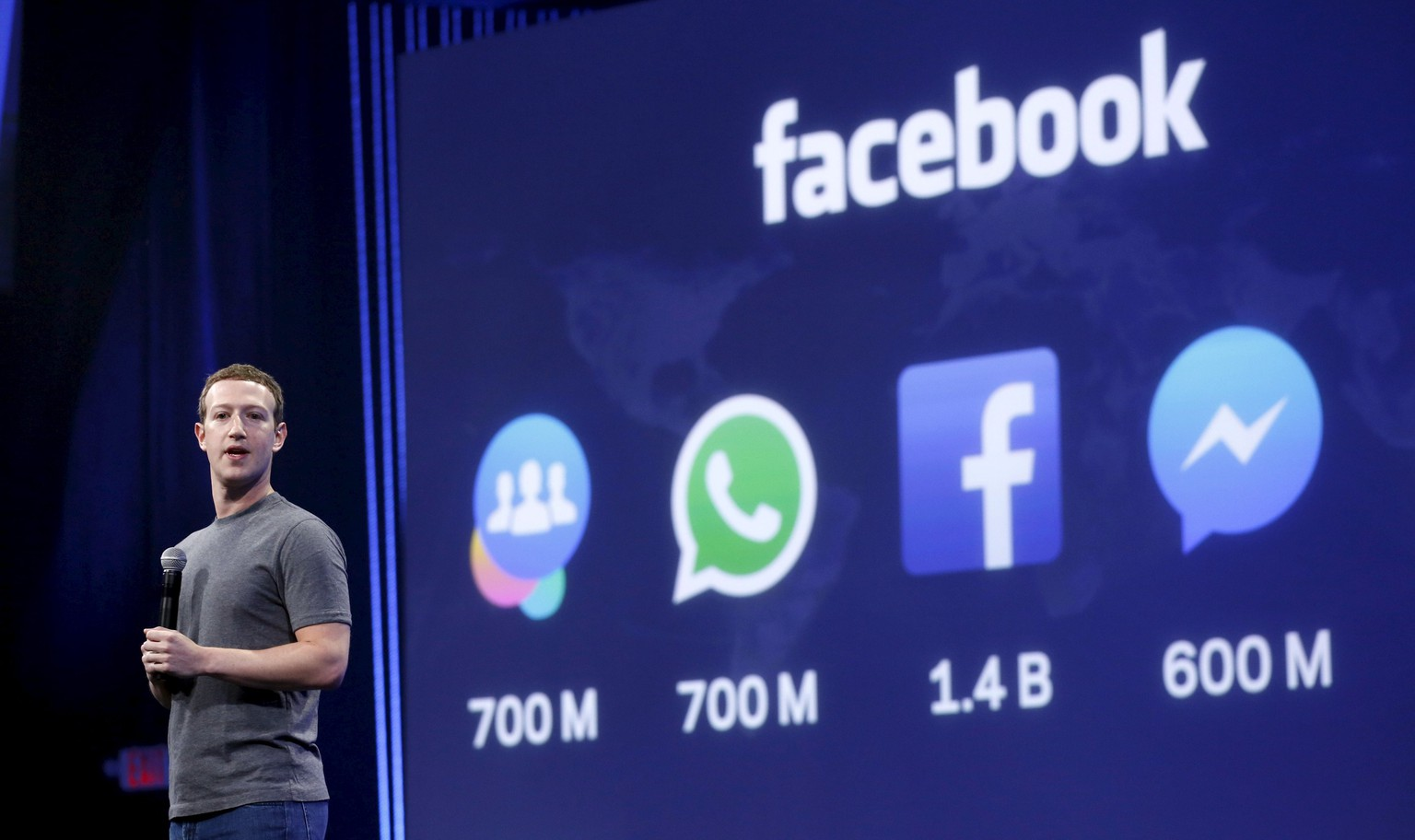 Facebook CEO Mark Zuckerberg speaks during his keynote address at Facebook F8 in San Francisco, California, in this file photo taken March 25, 2015. Facebook Inc posted its slowest growth in quarterly revenue in two years and higher spending on research and development ate into profits. Shares of the world's largest Internet social network fell 2.4 percent in after-market trading on April 22, 2015.  REUTERS/Robert Galbraith/Files