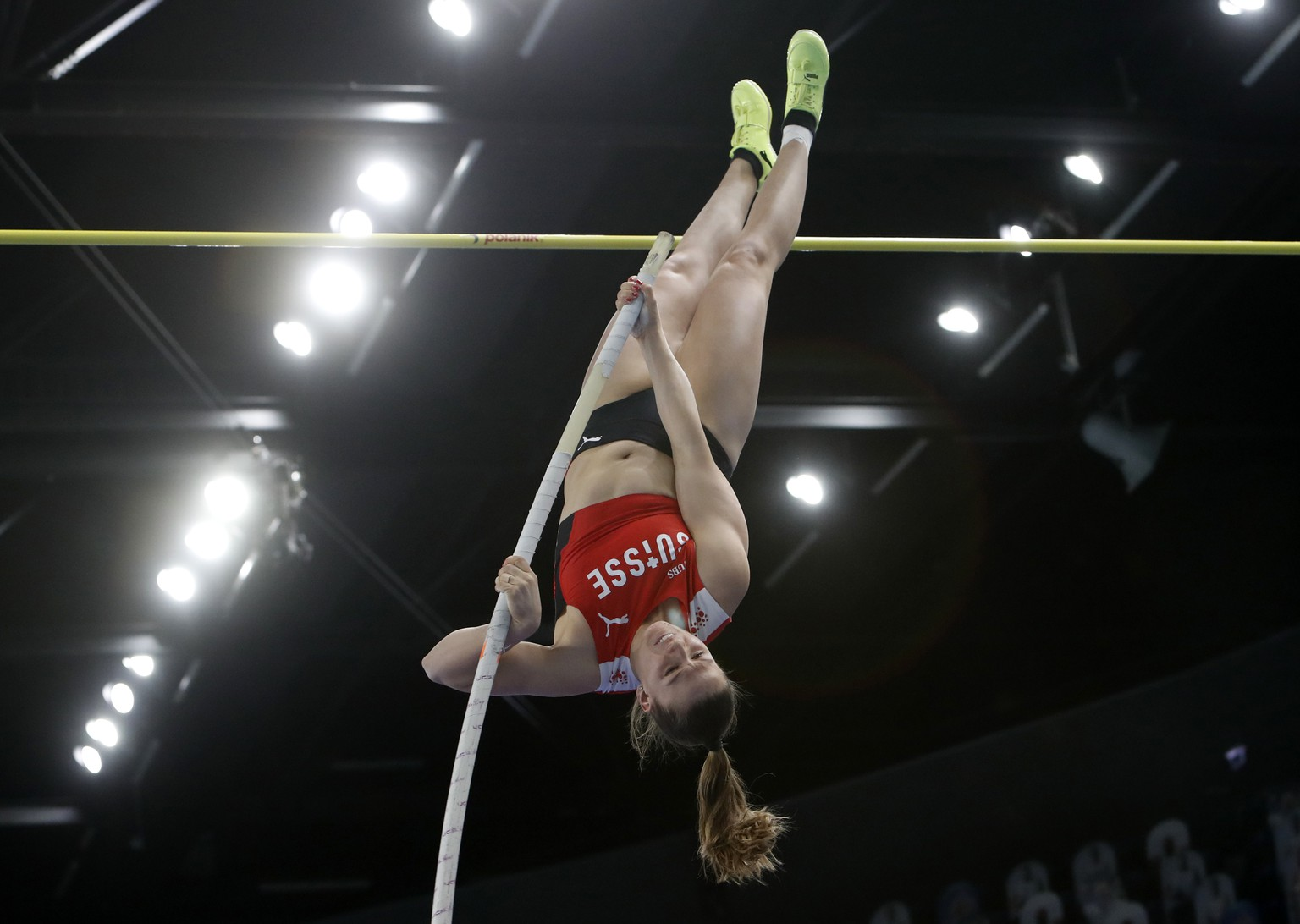 Switzerland's Angelica Moser competes during the women's pole vault final at the Poland European Indoor Athletics Championships in Torun, Poland, Saturday, March 6, 2021. (AP Photo/Darko Vojinovic)