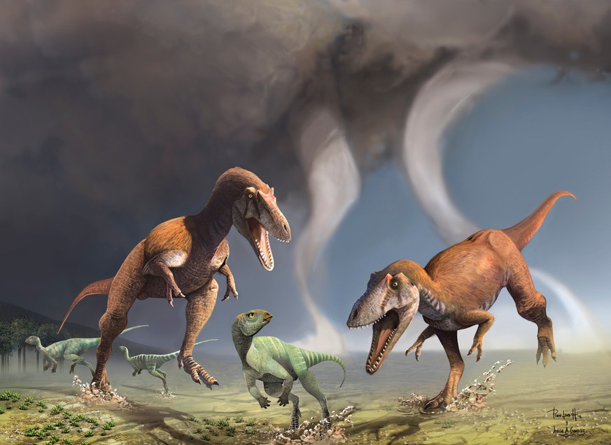 This illustration shows two Cretaceous Period predatory dinosaurs named Gualicho shinyae hunting smaller bipedal herbivorous dinosaurs in northern Patagonia 90 million years ago. Scientists on July 13, 2016 described fossils of Gualicho unearthed in Argentina, showing that the two-legged carnivore had arms only about the length of a human child's even though its body was up to about 26 feet (8 meters) long.Courtesy Jorge Gonzalez and Pablo Lara/Handout via REUTERSATTENTION EDITORS - THIS IMAGE WAS PROVIDED BY A THIRD PARTY. EDITORIAL USE ONLY. NO RESALES. NO ARCHIVE.