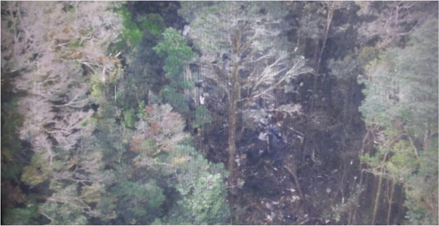 This photo released by the National Search and Rescue Agency (BASARNAS) of Indonesia Monday, Aug. 17,2015 shows the part of the wreckage that BASARNAS identified as of the missing Trigana Air Service flight that crashed in Oksibil, Papua, Indonesia. Smoldering wreckage of the passenger turboprop plane with 54 people on board was spotted from the air Monday morning in a rugged area of the easternmost province of Papua, rescue officials said. (AP Photo/The National Search and Rescue Agency of Indonesia) MANDATORY CREDIT