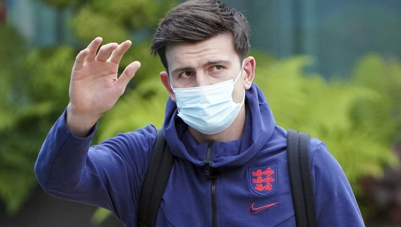England's Harry McGuire with the team leave the Grove Hotel, Hertfordshire, England, and head to Wembley Stadium for the Euro 2020 soccer championship final match between England and Italy Sunday July 11, 2021. (Jonathan Brady/PA via AP)