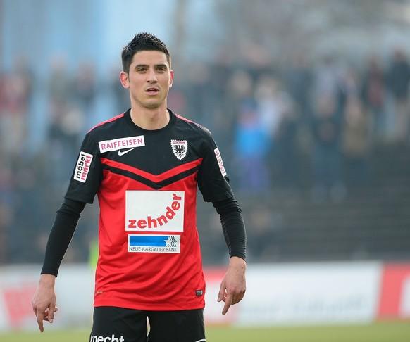 15.02.2015; Aarau; Fussball Super League -  FC Aarau  - FC Vaduz ; Moreno Costanzo (Aarau) (Daniela Frutiger/freshfocus)
