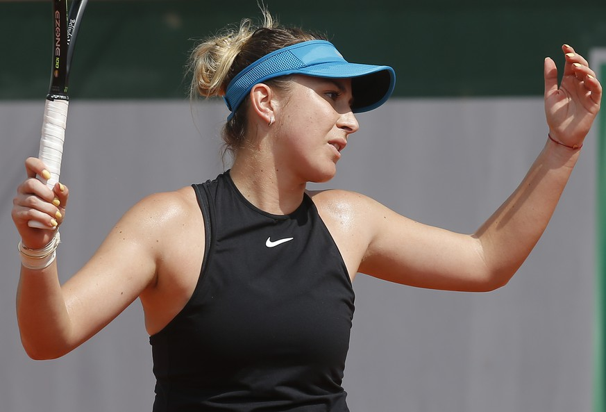 Belinda Bencic of Switzerland reacts as he plays Slovakia's Magdalena Rybarikova during their second round match of the French Open tennis tournament at the Roland Garros stadium, Thursday, May 31, 2018 in Paris. (AP Photo/Michel Euler)