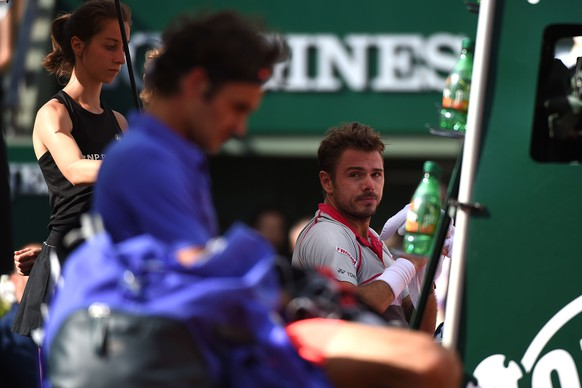 Stan Wawrinka (SUI)Roger Federer (SUI) , Paris, 2.6.2015, Tennis, Roland Garros, French Open. (Virginie Bouyer/Panoramic/EQ Images) SWITZERLAND ONLY