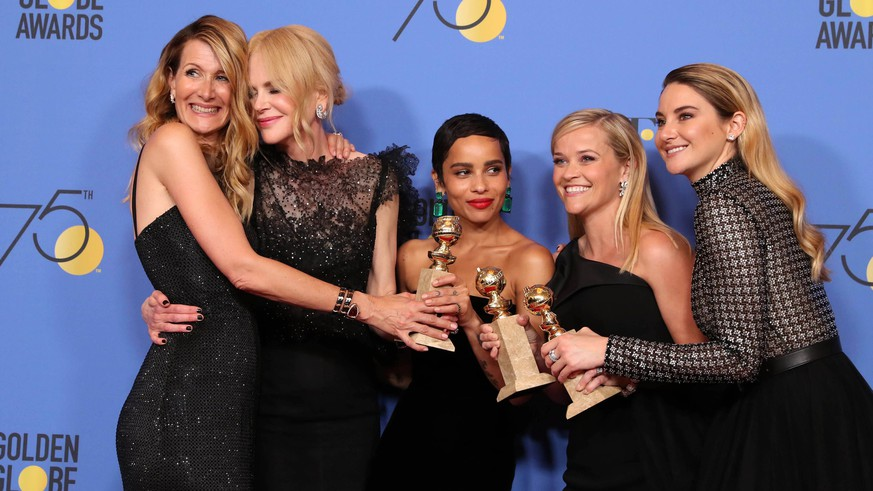 epa06424341 (L-R) Laura Dern, Nicole Kidman, Zoe Kravitz, Reese Witherspoon and Shailene Woodley pose with the Best Television Limited Series or Motion Picture Made for Television award for 'Big Little Lies' in the press room during the 75th annual Golden Globe Awards ceremony at the Beverly Hilton Hotel in Beverly Hills, California, USA, 07 January 2018.  EPA/MIKE NELSON