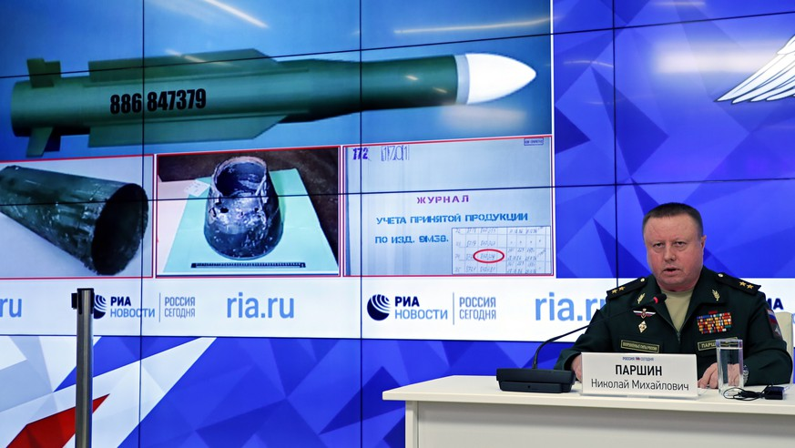 epa07026941 Russian Lieutenant-General Nikolai Parshin, the Head of the Main Missile and Artillery Directorate of the Russian Defence Ministry, speaks about the 17 July 2014 downing of the Malaysia Airlines Boeing 777 in Ukraine, during a news conference in Moscow, Russia, 17 September 2018. The Malaysia Airlines Boeing 777 plane operating flight MH17 from Amsterdam to Kuala Lumpur with 298 people aboard was downed by a missile over eastern Ukraine on 17 July 2014. While Ukraine blames pro-Russian separatists to have shot down the plane, Parshin according to media reports presented what they see as evidence that the Buk system missile was delivered to Ukraine and was never transported to Russia. He also was cited as saying, that he warned Ukraine could destroy documentation over that missile 'in order to conceal the truth'.  EPA/YURI KOCHETKOV