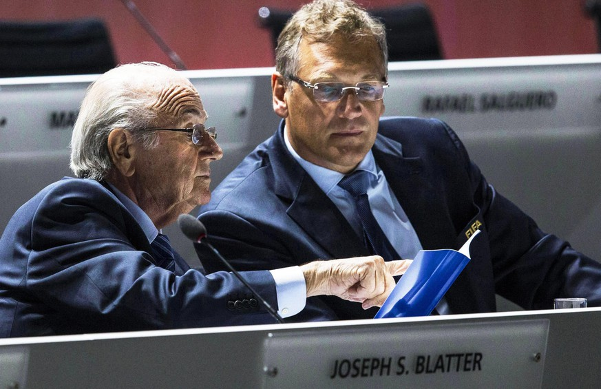 epa05099585 (FILE) A file picture dated 29 May 2015  of FIFA President Joseph Blatter (L) speaking with FIFA Secretary General Jerome Valcke (R) during the 65th FIFA Congress in Zurich, Switzerland. Media reports on 13 January 2016 state that FIFA has dismissed Jerome Valcke. The FIFA Emergency Committee decided, on 09 January 2016, to dismiss Jérôme Valcke from the position of FIFA Secretary General with immediate effect. Jérôme Valcke is therefore no longer the Secretary General of FIFA.  EPA/PATRICK B. KRAEMER *** Local Caption *** 52246150
