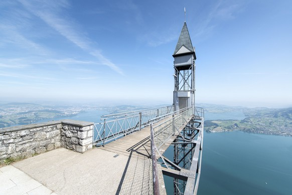 View of the Hemmetschwand Elevator, an exterior elevator overlooking Lake Lucerne, on the Buergenstock in Central Switzerland, pictured on June 6, 2013. (KEYSTONE/Christian Beutler)