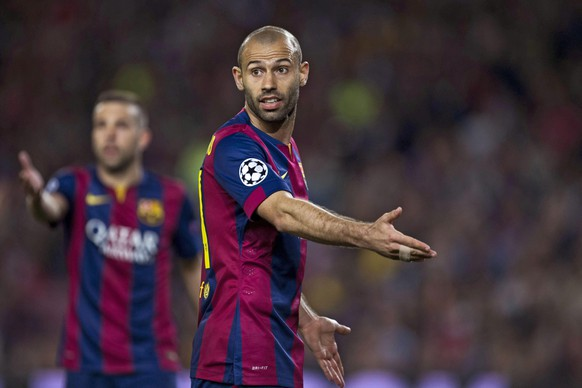 epa04715246 Barcelona's Javier Mascherano gestures during the UEFA Champions League quarter final second leg soccer match between FC Barcelona and Paris Saint-Germain at Camp Nuo stadium in Barcelona, Spain, 21 April 2015.  EPA/ALEJANDRO GARCIA