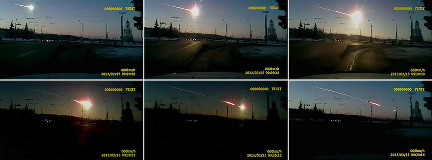 In this combo made from frame grabs from dashboard camera video, a meteor streaks through the sky over Chelyabinsk, about 1500 kilometers (930 miles) east of Moscow, Friday, Feb. 15, 2013. With a blinding flash and a booming shock wave, the meteor blazed across the western Siberian sky Friday and exploded with the force of 20 atomic bombs, injuring more than 1,000 people as it blasted out windows and spread panic in a city of 1 million. (AP Photo/AP Video)