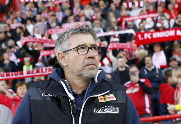 epa07564630 Union's coach Urs Fischer looks on during the German Bundesliga second division soccer match between 1.FC Union Berlin and 1. FC Magdeburg in Berlin, Germany, 12 May 2019. Union Berlin fights for a qualifying position into the first division of the Bundesliga.  EPA/FELIPE TRUEBA CONDITIONS - ATTENTION: DFL regulations prohibit any use of photographs as image sequences and/or quasi-video.