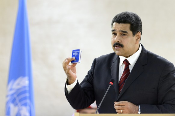 Venezuela's President Nicolas Maduro addresses the UN Human Rights Council, during the special meeting of the Human Rights Council, at the European headquarters of the United Nations, in Geneva, Switzerland, Thursday, November 12, 2015. (KEYSTONE/Martial Trezzini)