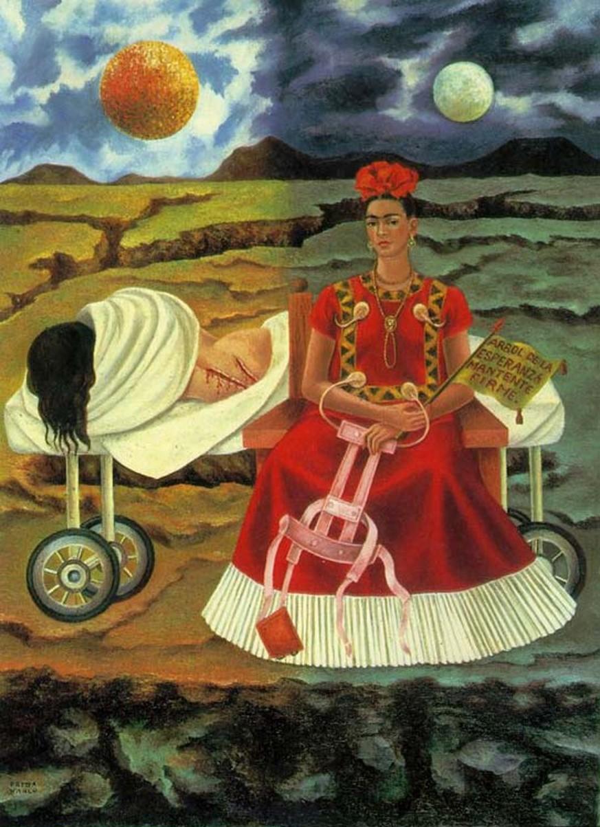 frida kahlo malerei selbstbildnis an der grenze zwischen mexiko und. Black Bedroom Furniture Sets. Home Design Ideas