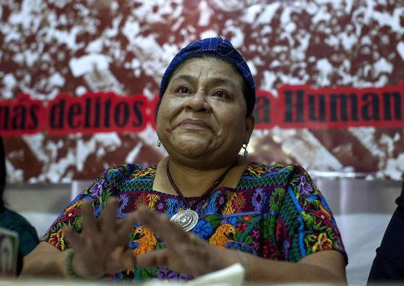 epa04425357 Rigoberta Menchu, 1992 Nobel Peace Prize, speaks during a press conference at the Foundation Rigoberta Menchú Tum in Guatemala City, Guatemala, 30 September 2014. The trial for the massacre of 37 people, among them three Spanish citizens, on 31 January 1980, at the Embassy of Spain in Guatemala, will begin on, 01 October 2014, announced Menchú, whose father Vicente Menchú, died in the massacre. Menchu will be a plaintiff at the trial.  EPA/Saúl Martínez