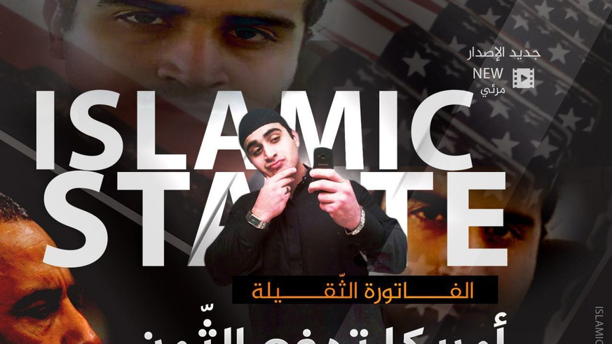 "This poster, distributed by an Islamic state militant supporter to advertise a new propaganda video, shows Omar Mateen who killed 49 people at the Pulse nightclub in Orlando, Florida, with 'Islamic State' blazoned behind him. It took just a few hours for the Islamic State group's opportunistic propaganda machine to take responsibility for the latest bloodshed in Florida and in France, with messages claiming the two attackers as its own. It may take the group longer to sort through the implications of a killer whose backstory of conflicted sexuality and heavy drinking is at odds with a carefully crafted public image of its fighters. Arabic reads:  ""The large bill. America is paying the price."" (Militant Media Arm via AP)"