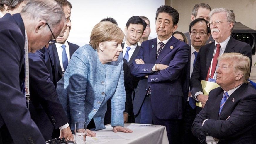 Fake-News-Medien sind schuld:Trump empört sich über Foto mit Merkel