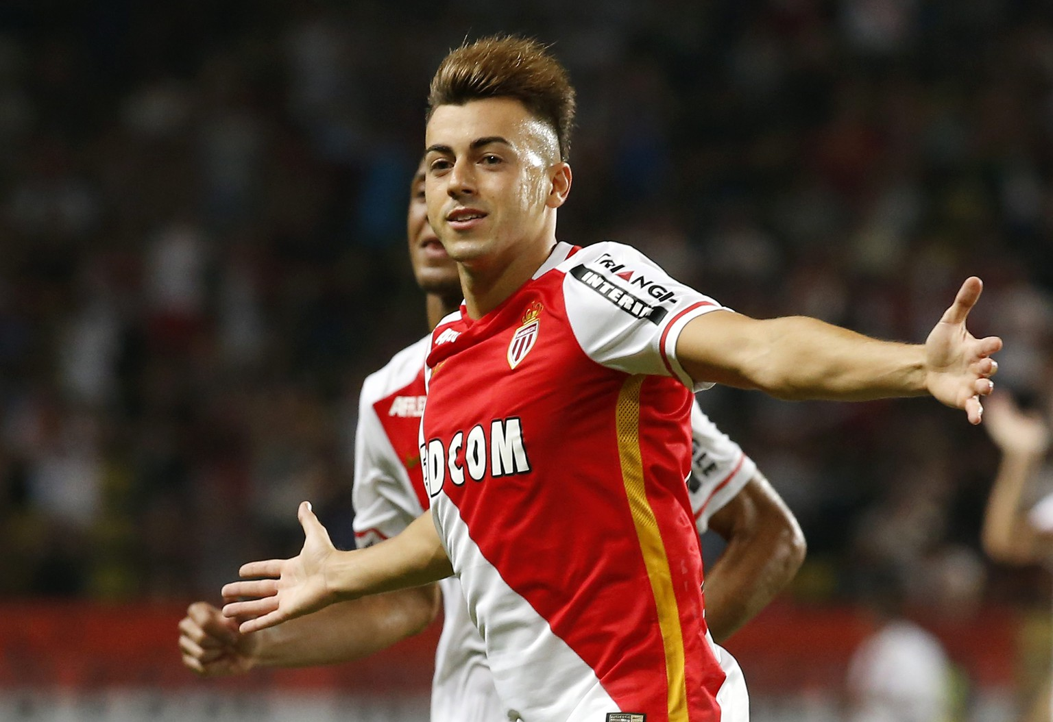 epa04872202 Stephan El Shaarawy of AS Monaco celebrates after scoring a goal against Young Boys Bern during the UEFA Champions League third qualifying round, first leg soccer match between AS Monaco and BSC Young Boys Bern, at Stade Louis II, in Monaco, 04 August 2015.  EPA/SEBASTIEN NOGIER