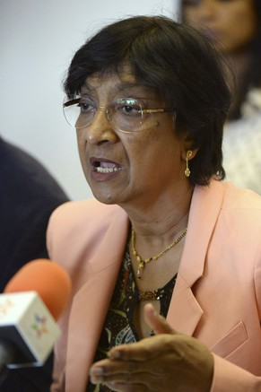 U.N. High Commissioner for Human Rights Navi Pillay speaks about the issue of human rights in Morocco, during a news conference as part of her official visit in Rabat May 29, 2014. REUTERS/Stringer (MOROCCO - Tags: POLITICS)