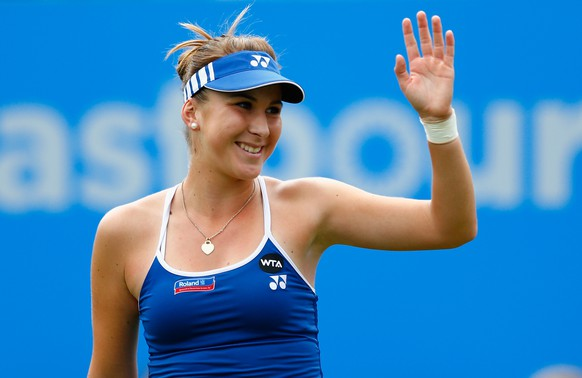 EASTBOURNE, ENGLAND - JUNE 23:  Belinda Bencic of Switzerland celebrates defeating Madison Keys of USA during the Aegon International day three at Devonshire Park on June 23, 2015 in Eastbourne, England.  (Photo by Julian Finney/Getty Images)