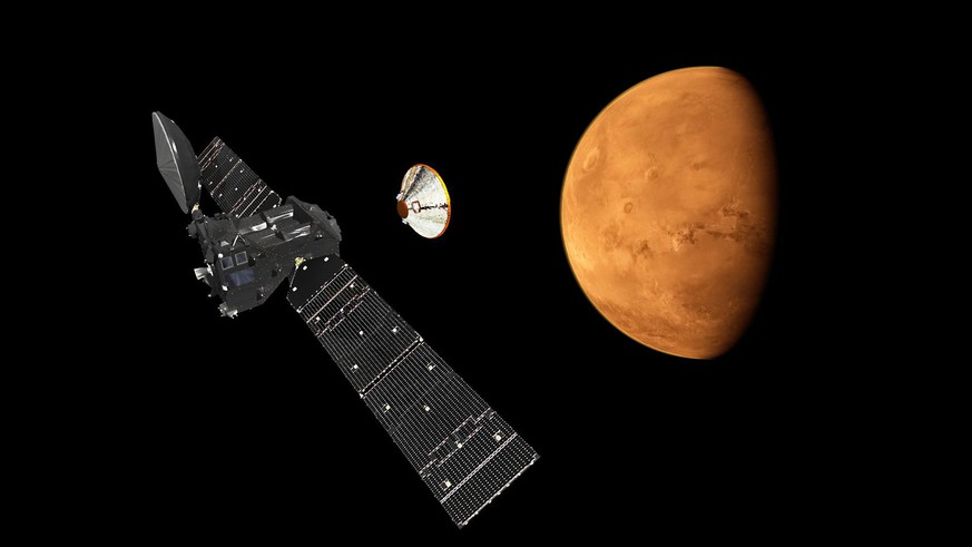 epa05585569 A handout image released on 18 September 2015 shows an artist's impression depicting the separation of the ExoMars 2016 entry, descent and landing demonstrator module, named Schiaparelli, from the Trace Gas Orbiter, and heading for Mars. The separation is scheduled to occur on 16 October 2016, about seven months after launch. Schiaparelli is set to enter the martian atmosphere on 19 October 2016, while TGO will enter orbit around Mars.  EPA/ESA/ATG MEDIALAB / HANDOUT  HANDOUT EDITORIAL USE ONLY/NO SALES