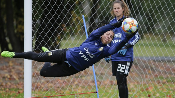 Argentine women's soccer team goalkeeper Vanina Correa catches the ball as she trains with fellow goalkeeper Gabriela Garton ahead of the FIFA Women's World Cup France 2019 tournament, at the Argentina Football Association in Ezeiza on the outskirts of Buenos Aires, Argentina, Monday, May 20, 2019. Garton, who spends half of her day in soccer and the other in master's program in sociology, says her World Cup team's players have a background filled of disappointment regarding Argentina's support for women's soccer. (AP Photo)