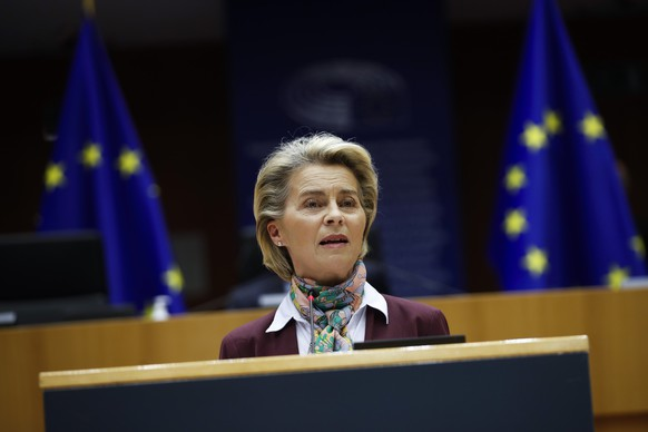 European Commission President Ursula von der Leyen addresses European lawmakers during a plenary to mark International Women's Day at the European Parliament in Brussels, Monday, March 8, 2021. (AP Photo/Francisco Seco, Pool)