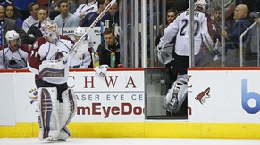Colorado Avalanche goalie Calvin Pickard (31) replaces Reto Berra after Berra gave up three goals to the Arizona Coyotes during the first period of an NHL hockey game Tuesday, Nov. 25, 2014, in Glendale, Ariz. (AP Photo/The Arizona Republic, David Kadlubowski)