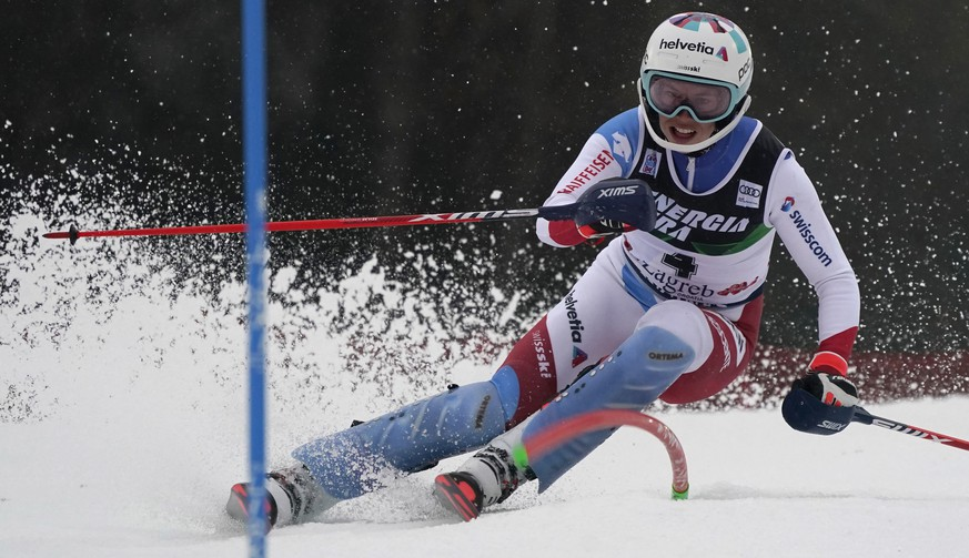 Switzerland's Michelle Gisin speeds down the course during an alpine ski, women's World Cup Slalom, in Zagreb, Croatia, Sunday, Jan. 3, 2021. (AP Photo/Giovanni Auletta)