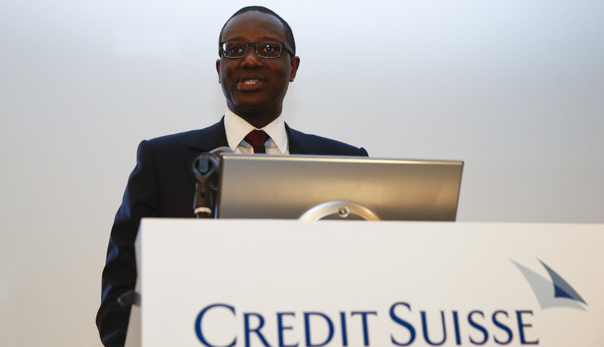 Tidjane Thiam speaks during a Credit Suisse news conference in Zurich, Switzerland in this March 10, 2015 file picture. When Thiam unveils his plans for Credit Suisse on October 21, 2015, the Swiss bank's new chief executive will likely rest his case on three Cs: capital, cuts and charm. To match CREDIT SUISSE GP-STRATEGY/ REUTERS/Arnd Wiegmann/Files
