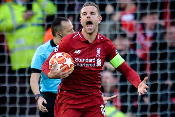 epa07554462 Liverpool's Jordan Henderson celebrates his team's 1-0 lead during the UEFA Champions League semi final second leg soccer match between Liverpool FC and FC Barcelona at Anfield stadium in Liverpool, Britain, 07 May 2019.  EPA/PETER POWELL