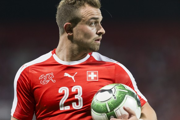Swiss forward Xherdan Shaqiri, during a friendly soccer match on the side line of the 2018 Fifa World Cup group B qualification between Switzerland and Belarus at the Stadium Maladiere, in Neuchatel, Switzerland, Thursday, June 1, 2017.(KEYSTONE/Cyril Zingaro)