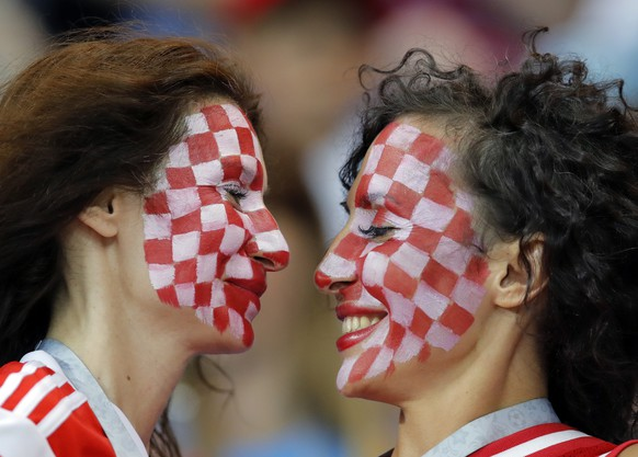 Croatian fans cheer prior to the group D match between Iceland and Croatia, at the 2018 soccer World Cup in the Rostov Arena in Rostov-on-Don, Russia, Tuesday, June 26, 2018. (AP Photo/Vadim Ghirda)
