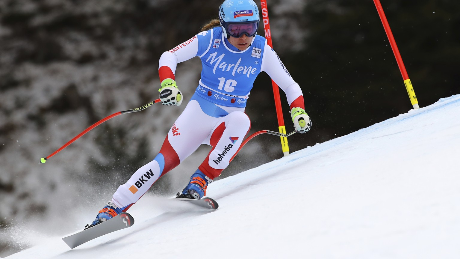 Switzerland's Jasmine Flury competes during an alpine ski, women's World Cup Super-G, in Val Gardena, Italy, Wednesday, Dec. 19, 2018. (AP Photo/Marco Trovati)