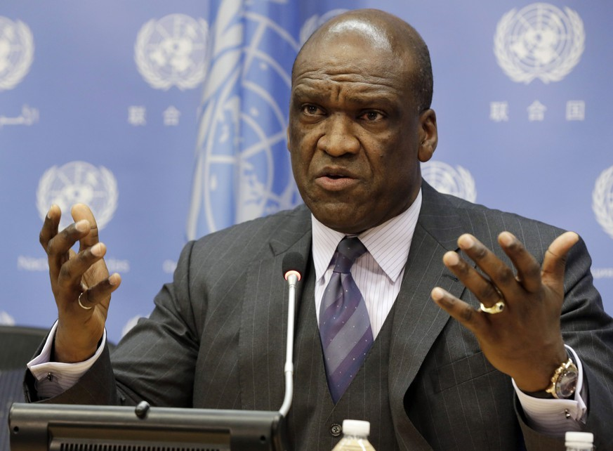 FILE - In this Sept. 17, 2013, file photo, Ambassador John Ashe, of Antigua and Barbuda, the President of the General Assembly 68th session, speaks during a news conference at United Nations headquarters. Former United Nations General Assembly President Ashe accepted more than $500,000 in bribes from a Chinese real estate mogul and other businesspeople in exchange for help obtaining lucrative investments and government contracts, according to federal court documents unsealed Tuesday, Oct. 6, 2015. (AP Photo/Richard Drew, File)