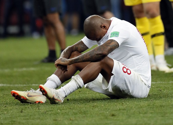 epa06882039 Ashley Young of England reacts after the FIFA World Cup 2018 semi final soccer match between Croatia and England in Moscow, Russia, 11 July 2018.
