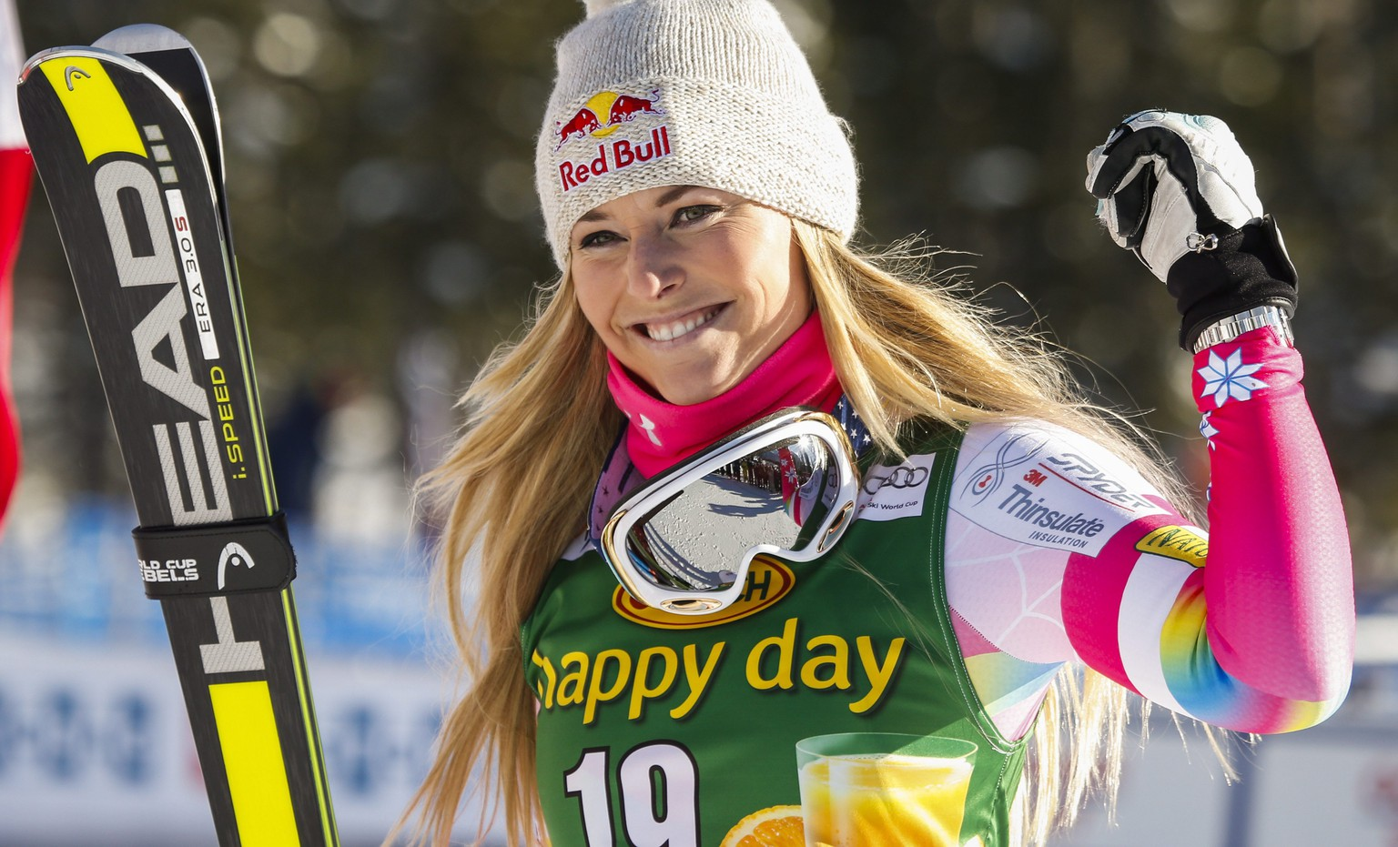 FILE - In this Dec. 7, 2014, file photo, Lindsey Vonn, of the United States, celebrates her second place finish in the women's World Cup Super-G ski race in Lake Louise, Alberta. Vonn's comeback from two knee surgeries will be the subject of an upcoming documentary featuring footage from the operating room along with rehab sessions in her hometown of Vail, Colorado. The one-hour film is called